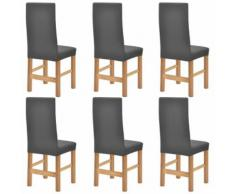 vidaXL Housse étirable de chaise 6 pcs Polyester tissu côtelé Gris