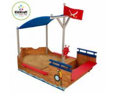 KidKraft Bac à sable bateau de pirates extérieur avec auvent Bois 00128