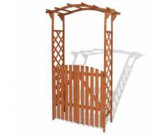 vidaXL Arche pour jardin avec portique Bois massif 120 x 60 x 205 cm