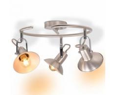 vidaXL Plafonnier pour 3 ampoules E14 Argenté