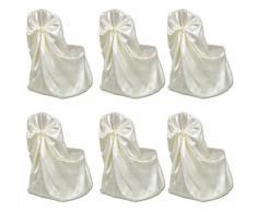 vidaXL Housse de chaise crème pour le banquet de mariage 6 pièces