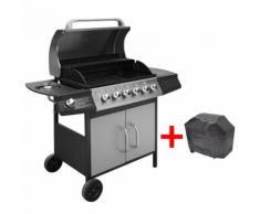 vidaXL Barbecue à gaz 6 + 1 zone de cuisson Noir et argenté