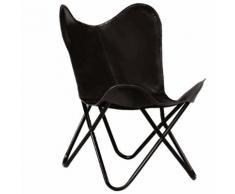 vidaXL Chaise forme de papillon Cuir véritable Noir Taille d'enfants