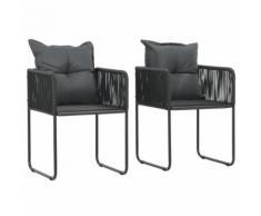 vidaXL Chaises d'extérieur 2 pcs avec oreillers Résine tressée Noir