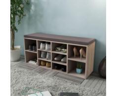 vidaXL Banc de rangement de chaussures avec 10 compartiments Couleur de chêne