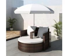 vidaXL Canapé de 2 places rond brun avec le parasol