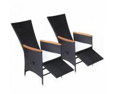 vidaXL Chaise inclinable de jardin 2 pcs Rotin synthétique Bois d'acacia