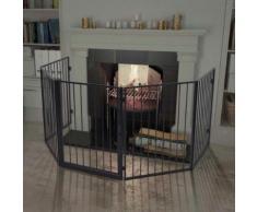 vidaXL Clôture de cheminée pour animaux de compagnie Acier Noir