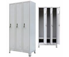 vidaXL Armoire à casiers avec 3 compartiments Acier 90x45x180 cm Gris