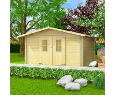vidaXL Abri de jardin pour bûches de bois 34 mm 4 x 4 m Bois massif