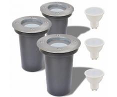 vidaXL Lampe LED encastrable au sol d'extérieur 3 pièces Rond