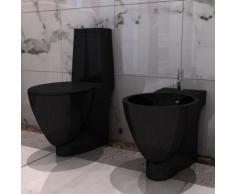 vidaXL Set de cuvette et bidet céramique Noir