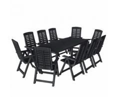 vidaXL Ensemble de salle à manger de jardin 11pcs Plastique Anthracite