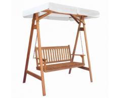 vidaXL Chaise balançoire pour jardin + baldaquin eucalyptus acacia