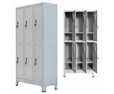vidaXL Armoire à casiers avec 6 compartiments Acier 90x45x180 cm Gris