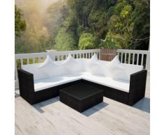 vidaXL Ensemble de mobilier de jardin 17 pcs Résine tressée Noir