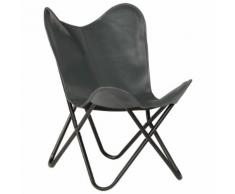 vidaXL Chaise forme de papillon Cuir véritable Gris Taille d'enfants