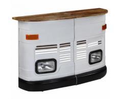 vidaXL Table de bar Forme de camion Bois de manguier massif Blanc