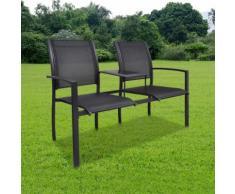 vidaXL Banc de jardin à 2 places 131 cm Acier et textilène Noir