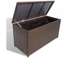 vidaXL Coffre de stockage de jardin Rotin synthétique Marron
