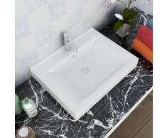 vidaXL Vasque à poser en céramique Rectangulaire Blanche 60 x 46 cm