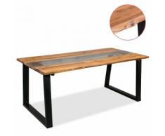 vidaXL Table de salle à manger Bois d'acacia et verre 180 x 90 x 75 cm