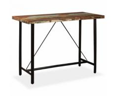 vidaXL Table de bar Bois massif de récupération 150 x 70 x 107 cm