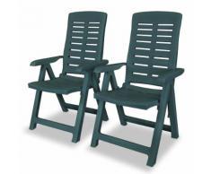 vidaXL Chaise inclinable de jardin 2 pcs 60x61x108 cm Plastique Vert