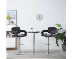 vidaXL Chaise de bar pivotante 2 pcs Similicuir 54 x 58 x 115 cm Noir