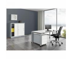Bureau complet ARCOS bureau, armoire à portes coulissantes, caisson roulant à 3 tiroirs ,mauser