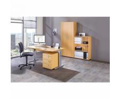 MULTI - Bureau complet 1 bureau, 1 rayonnage, 1 caisson roulant, 1 armoire de bureau, siège pivotant noir