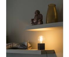 QAZQA Lampe de table carrée industrielle en bois noir - Bloc