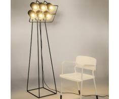 MULTILAMP-Lampadaire 6 lumires Mtal & Textile H180cm Noir Seletti - design par Emanuele Magini