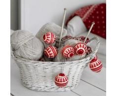 KNITTED BALLS-Guirlande 6 Boules Tricot LED pile L2m rouge et blanc Xmas Living Glass