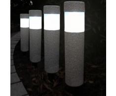 """4x Lampes solaires LED aspect """"pierre"""" - jusqu'à 8h d'éclairage jardin chemin"""