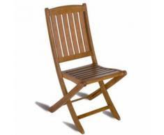 Chaise pliante pour jardin en bois exotique coloris bois naturel - Dim : H 92 x L 45 x P 58 cm