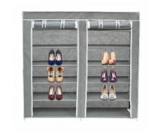 Penderie, Armoire, 2 portes, placard à chaussures, 114 x 110 x 28 cm, Gris, Matériau: Tubes en