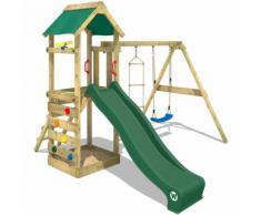 WICKEY Aire de jeux FreeFlyer Portique de jeux en bois Maison d'enfants avec balançoire - vert