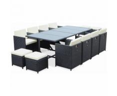 Salon de jardin Cubo Noir table en résine tressée 8 à 12 places, fauteuils encastrables