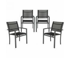 4 Chaises de Jardin, de Camping ou de Salon en Métal et Tissu - Solides - 57 cm x 62 cm x 87 cm
