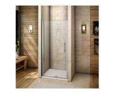 Porte de douche pivotante 90x195cm verre anticalcaire installation en niche avec le receveur de