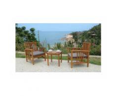 Ensemble salon de jardin 2 places - 1 table et 2 fauteuils - En bois d'acacia - 45x45x45cm