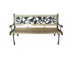 Banc de jardin meuble bois massif métal et plastique 122 cm