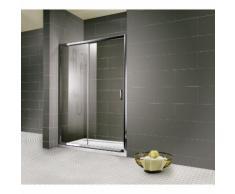 Porte de douche coulissante en niche Impériale, 2 parties, verre transparent anti-calcaire,