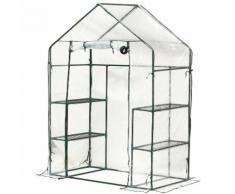 Serre de Jardin 143L x 73l x 195H cm 4 tablettes acier PE haute densité 140 g/m² anti-UV avec porte
