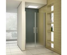 Porte de douche pivotante 95x195 cm verre anticalcaire et sablé installation en niche