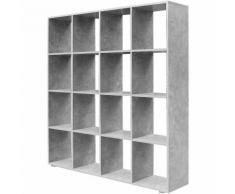 Étagère 16 cases Couleur béton Etagère escalier Diviseur de pièce Bibliothèque Meuble Rangement