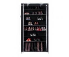 Armoires penderie tissu meuble de rangement chaussure noir 160 cm