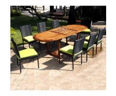 ensemble de jardin table en teck et chaises en résine tressée - 8 places