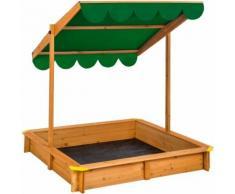 Bac à Sable Cabane de Jardin Enfant en Bois avec 1 Toit et 1 Bâche 120 cm x 120 cm x 120 cm Vert